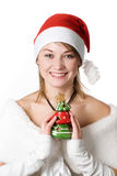 Girl with toy-tree Stock Photos