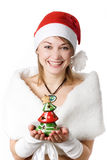 Girl with toy-tree Royalty Free Stock Photography
