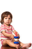 Girl with toy on white background Royalty Free Stock Image
