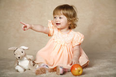 The girl with toys Royalty Free Stock Photos