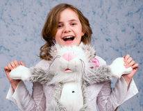 The girl with toys stock photography