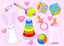 Girl toys. Baby girl collection set. Vector illustration Royalty Free Stock Images