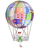 Girl with toys in air balloon from patchwork blanket Royalty Free Stock Photo