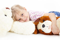The girl with toys Royalty Free Stock Photo