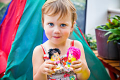 Girl with toys made with plasticine Stock Photo