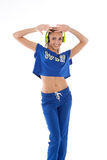 Girl in tracksuit Stock Images