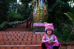 Girl with traditional clothes on Doi Suthep stock images
