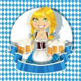 Girl in traditional costume with a glass beer Stock Images