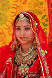 Girl in traditional dress taking part in Desert Festival, Jaisal Stock Photo