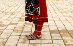 Girl in a Traditional macedonian costume, details Stock Photos