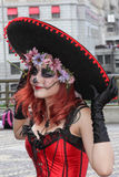 Girl in traditional skull costume in Zombie Walk Sao Paulo Royalty Free Stock Images