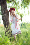 Girl in traditional ukrainian costume Stock Photography