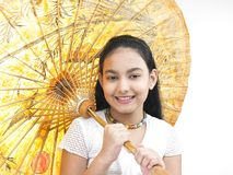 Girl with a traditional umbrella Stock Photos
