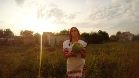 A girl in a traditional Urainian folk costume finds a watermelon in the garden and gives it to the person behind the camera. first. Collection, a girl in a stock video footage