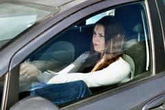 Girl in traffic jam Royalty Free Stock Photo