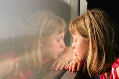 The girl in a train. The girl with interest looks out of the window quickly born train Royalty Free Stock Photos