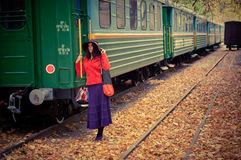 Girl in train Stock Images