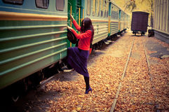 Girl in train Stock Photos