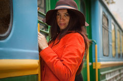 Girl in train Royalty Free Stock Images