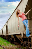 Girl on train Stock Image