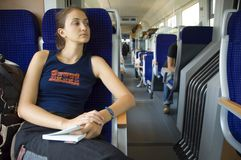 Girl on train #8 Royalty Free Stock Images