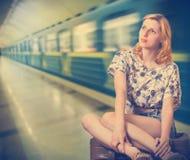 Girl and train Stock Photo