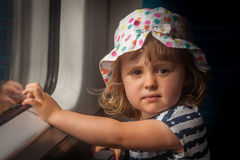Girl in a train Stock Photo