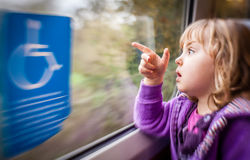 Girl in a train Royalty Free Stock Image