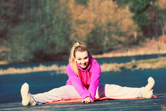Girl train outside in park. Royalty Free Stock Photos