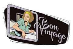 Girl in the train. Start travel. Bon Voyage. vector illustration