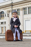 Girl at the train station Stock Photo