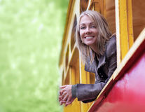 Girl in a train window Royalty Free Stock Photography