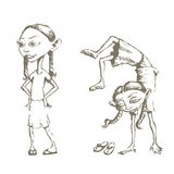 Girl training. Vectorized Sketches of a girl training and girl standing Royalty Free Stock Image