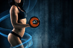 Girl during training with blue effect Royalty Free Stock Images