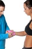Girl training body combat Royalty Free Stock Photos