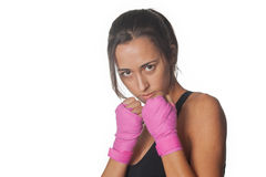 Girl training body combat Stock Images