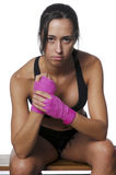 Girl training body combat Stock Image
