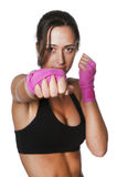 Girl training body combat Royalty Free Stock Images