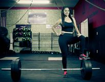 Crossfitter training hard daily wod weight royalty free stock images