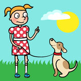 Girl training obedience with well behaved dog Stock Images