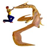 Girl training pterodactyls Royalty Free Stock Photography