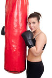 Girl after training with punching bag Royalty Free Stock Photo