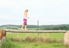 Girl training stability Royalty Free Stock Photos