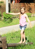 Girl training stability Royalty Free Stock Images