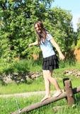 Girl training stability Royalty Free Stock Photo
