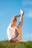 Girl training yoga Stock Image