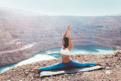 Girl training yoga pose outdoor Stock Photography