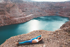 Girl training yoga pose outdoor Stock Images