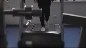 Girl trains on a treadmill. fitness club woman engaged in walking. sports lifestyle concept. weight loss in gym. Girl trains on treadmill. fitness club woman stock video footage