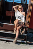 Girl in a Tram Posing Stock Images